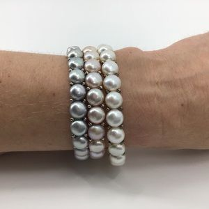 Pink, Grey, White Simulated Pearl Bracelet Set